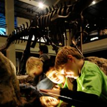 A group of students attending a field trip to the Houston Museum of Natural Science .