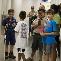 Boy Scouts at Scout camp working with the Houston Museum of Natural Science towards earning merit badges.