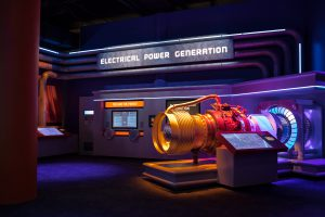 An electrical power generator model built for an energy exhibit in the Weiss Energy hall.