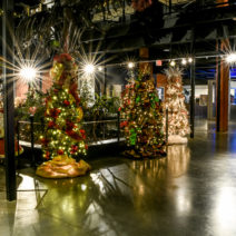 Holiday decorations set up for the Jingle Tree event at the Houston Museum of Natural Science at Sugar Land
