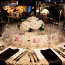 Formal table setting for dinner event at the Houston Museum of Natural Science at Sugar Land