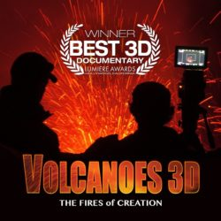 Image shows two silhouettes with a video camera in front of lava and an erupting volcano