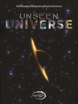"This planetarium show poster shows a planet with a large ring floating in outer space. The text reads ""Unseen Universe"" and ""Burke Baker Planetarium"" in Houston Texas."