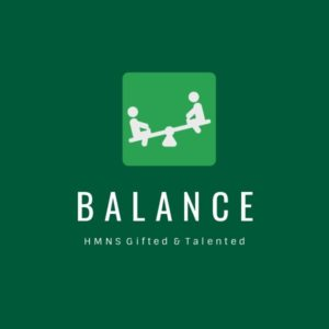 """Image shows two students playing on a see-saw above the words """"Balance"""" and """"HMNS Gifted and Talented."""""""