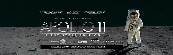 "Neil Armstrong, clad in an astronaut suit, stands on the moon. The words on the poster read ""Humanities greatest adventure on the world's largest screens"" and the title of the movie ""Apollo 11: First Steps."""