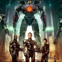 Guillermo De Toro's Pacific Rim characters stand in front of a jaeger