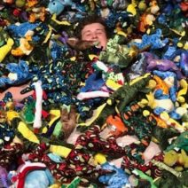 A museum guest lays in our exhibit infocus' dino pit, surrounded by thousands of colorful, plush dinosaurs.