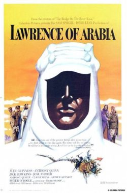 Movie poster for Lawrence of Arabia imax film screening at the houston museum of natural science.