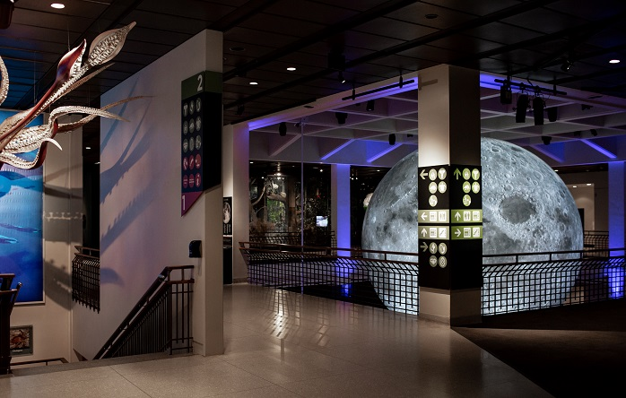 The giant moon sculpture hangs at HMNS, the Houston Museum of Natural Science.