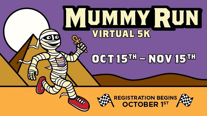 "Image contains a logo to the museum's 5K virtual fun run. It has the words ""Mummy Run Virtual 5K"" across the top and includes a cartoon mummy running across the desert"
