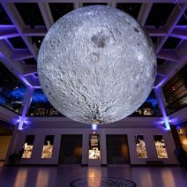 Image shows the giant moon sculpture at the houston museum of natural science.