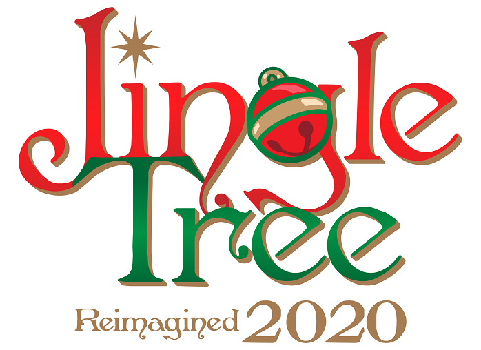 logo that reads Jingle Tree Reimagined 2020 in red, green and gold festive holiday text and a red jingle bell.