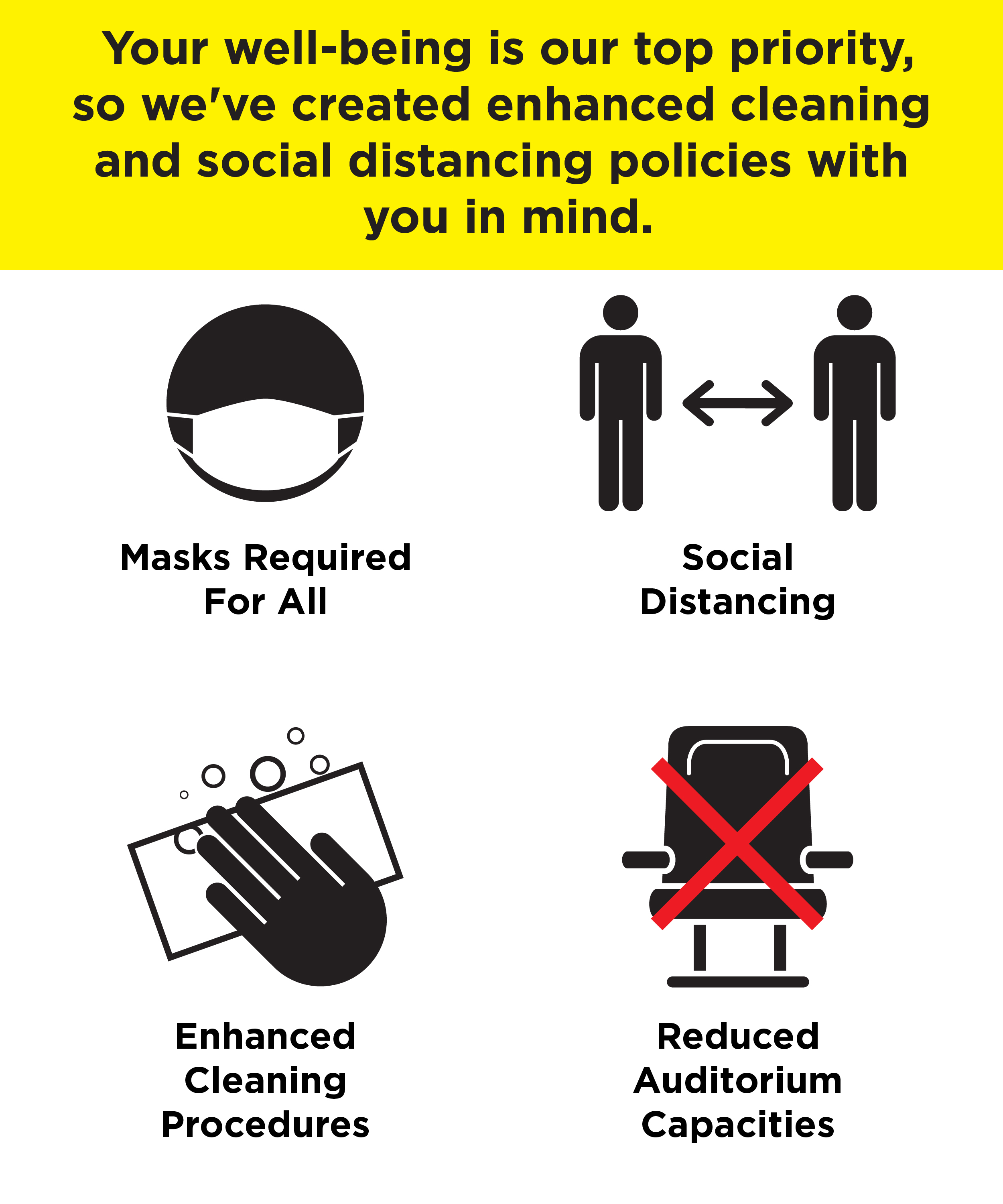 "Infographic that reads ""Your well-being is our top priority, so we've created enhanced cleaning and social distancing policies with you in mind. Masks required for all. social distancing. enhancing cleaning procedures. reduced auditorium capacities."""